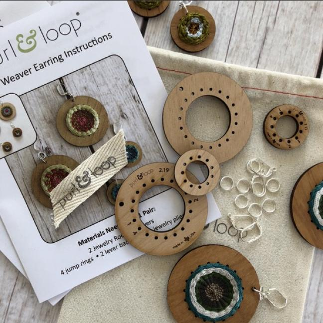 Purl & Loop Round Weaver Earring Kit 5cm L