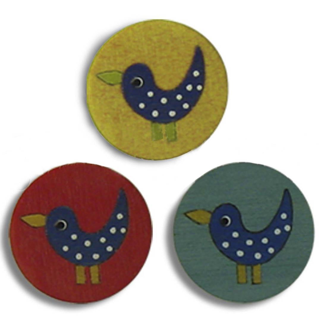 Jim Knopf Wood button birds 16mm