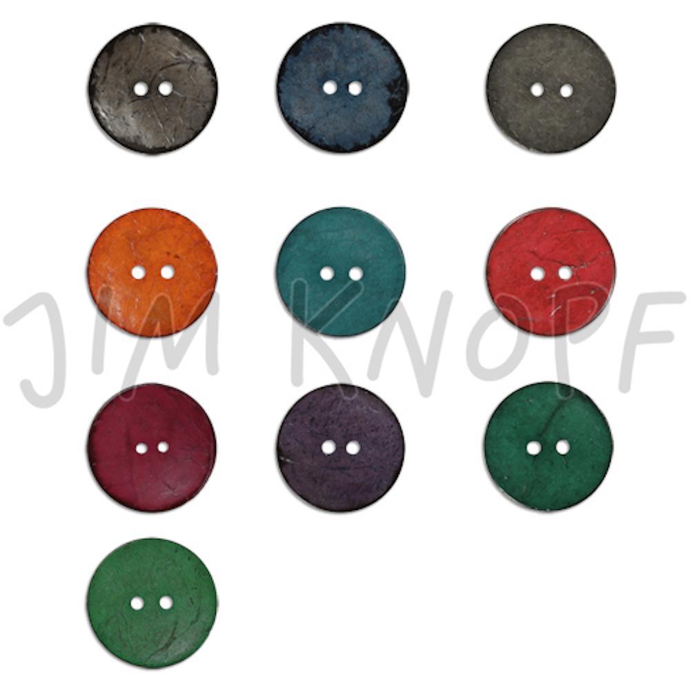 Jim Knopf Cocosknopf flach gefärbt 23mm