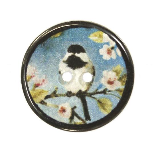Jim Knopf Resin Kunstharz Knopf japanisches Vogelmotiv 20mm