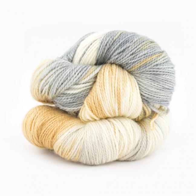 Cowgirl Blues Merino Sock Twist yarn - gradient CaramelSableSilverfoxNatural