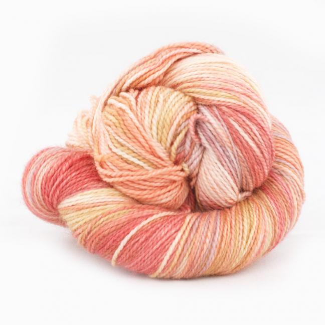Cowgirl Blues Merino Sock Twist yarn - gradient RubyCoralCaramelFaded
