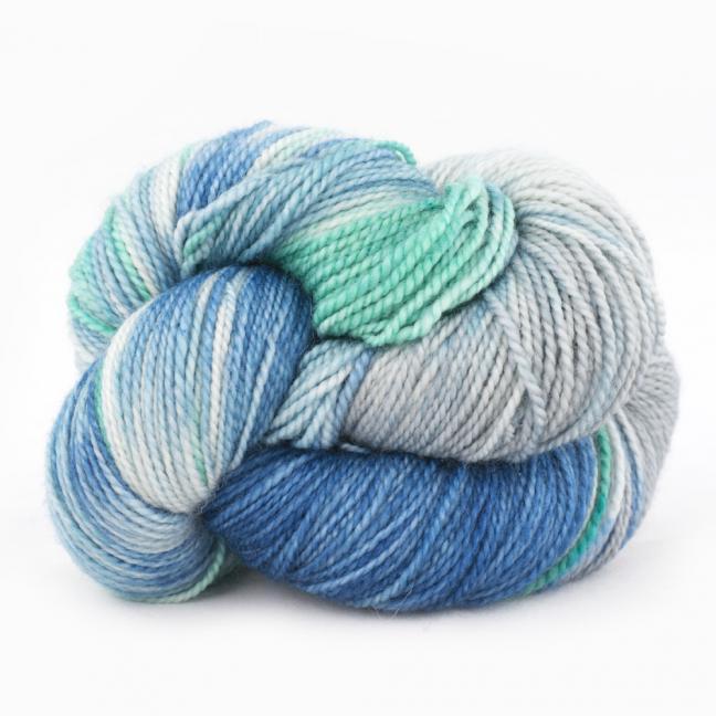 Cowgirl Blues Merino Sock Twist yarn - gradient GuineaSeaSilverEmerald